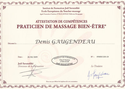 Diplôme de Praticien massage bien-être