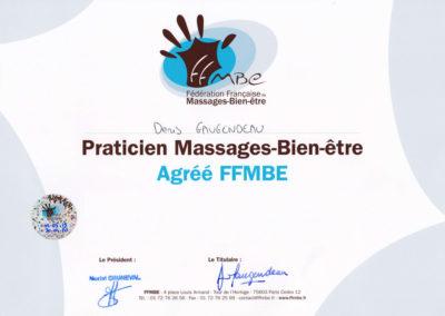 Certificat de Praticien massage bien-être