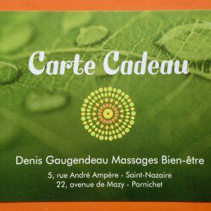 Bon cadeau pour un massage avec Denis Gaugendeau